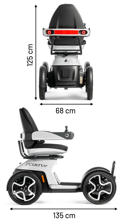 Dimensions for rear view and side view Scoozy.